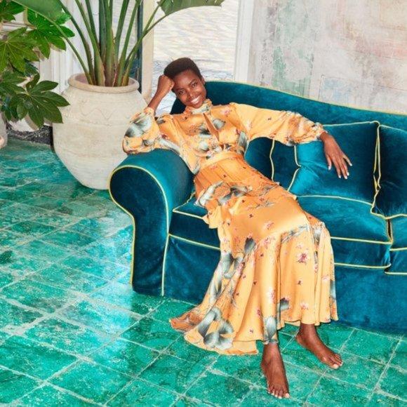 Johanna Ortiz x H&M Long Dress w/ Scarf Collar NWT